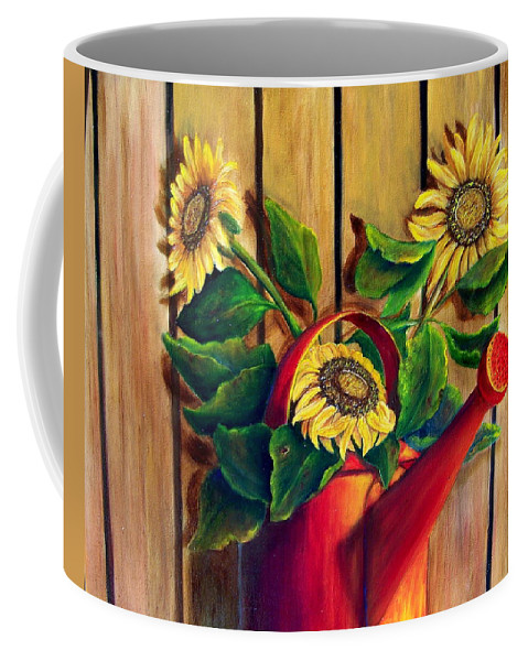 Sunflowers Coffee Mug featuring the painting Red Watering Can With Sunflowers. Sold by Susan Dehlinger