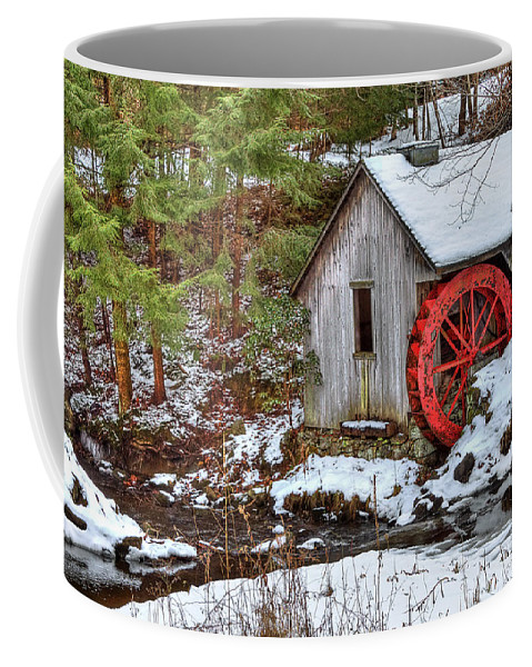 Cold Coffee Mug featuring the photograph Red Wheel by Evelina Kremsdorf