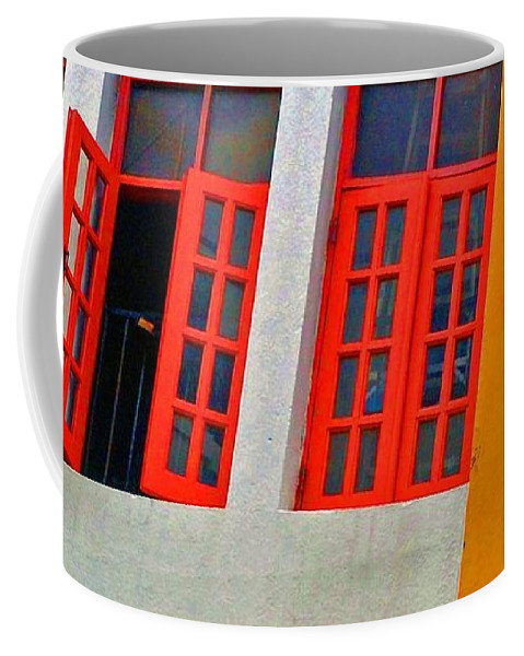 Windows Coffee Mug featuring the photograph Red Windows by Debbi Granruth
