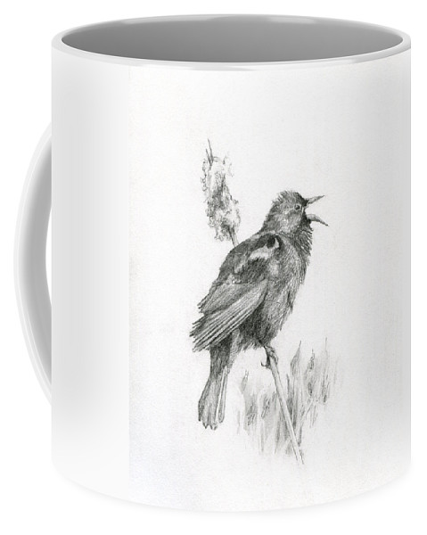 Bird Coffee Mug featuring the drawing Red-winged Blackbird by Abby McBride