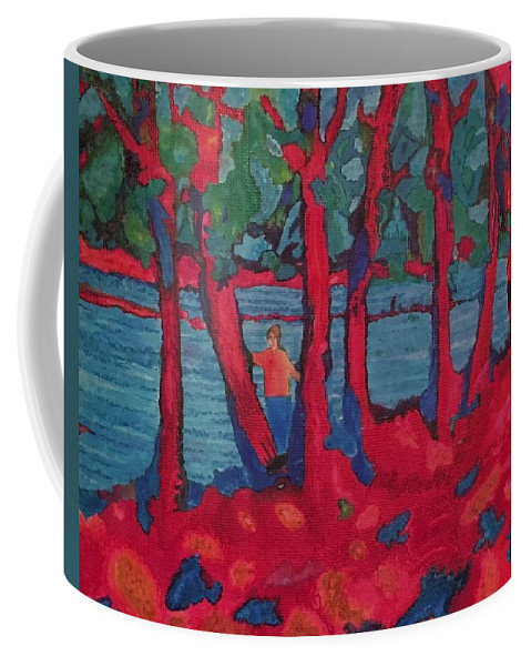 Woods Coffee Mug featuring the painting Red Woods by John Cunnane