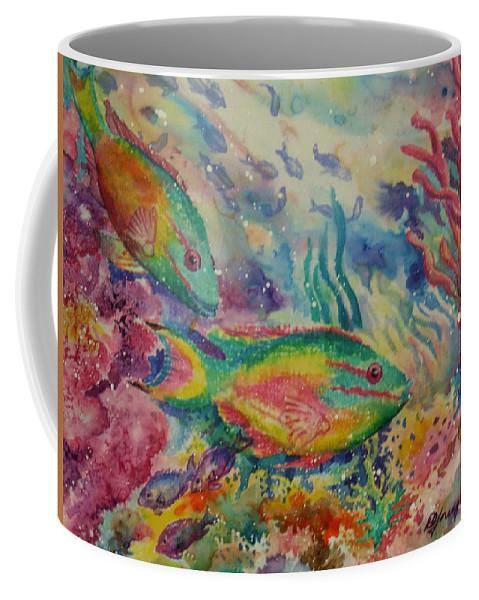 Fish Coffee Mug featuring the painting Redband Parrotfish by Deborah Younglao