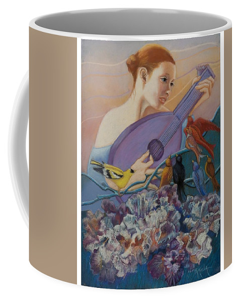 Flowers Coffee Mug featuring the pastel Redbird Sings To Farie by Pamela Mccabe
