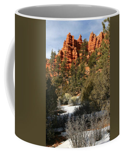 Red Rocks Coffee Mug featuring the photograph Redrock Winter by Nelson Strong