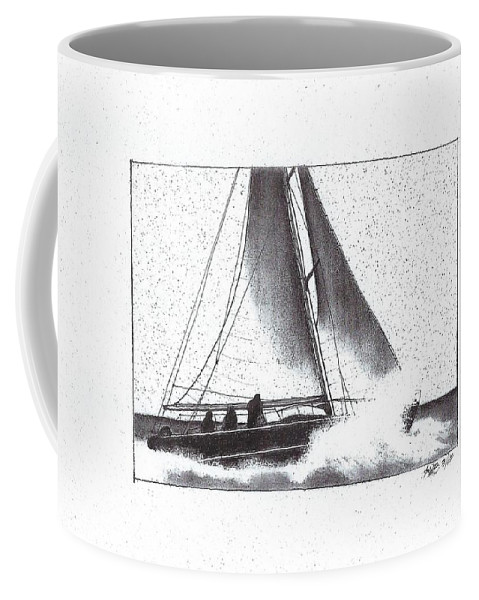 Sailboat Coffee Mug featuring the drawing Reefing The Main by Richard Butler