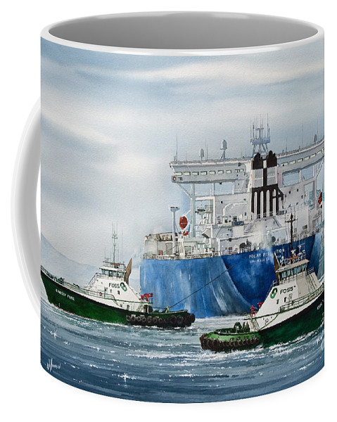 Tugs Coffee Mug featuring the painting Refinery Tanker Escort by James Williamson