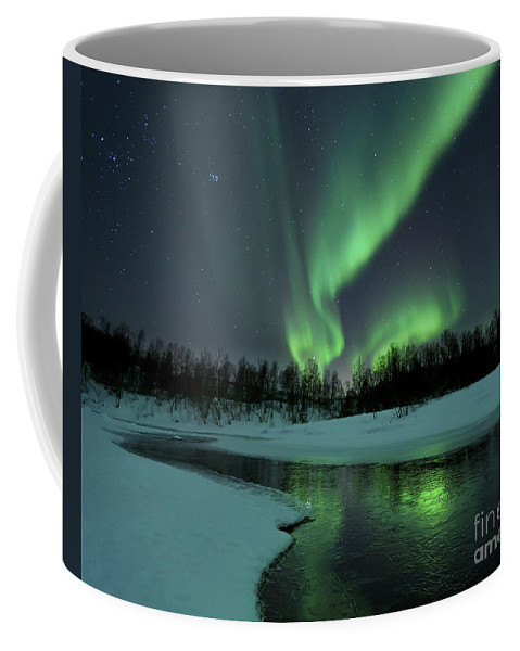 Green Coffee Mug featuring the photograph Reflected Aurora Over A Frozen Laksa by Arild Heitmann