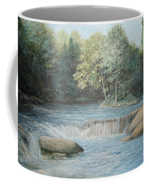 Running Water Coffee Mug featuring the painting Reflected Blue by Penny Neimiller