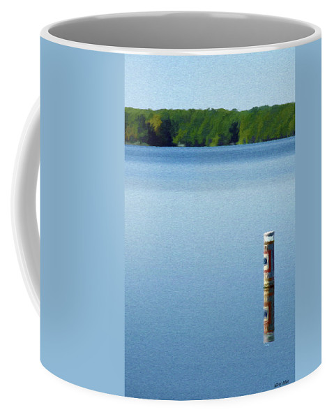 Blue Coffee Mug featuring the painting Reflected Warning by Jeffrey Kolker