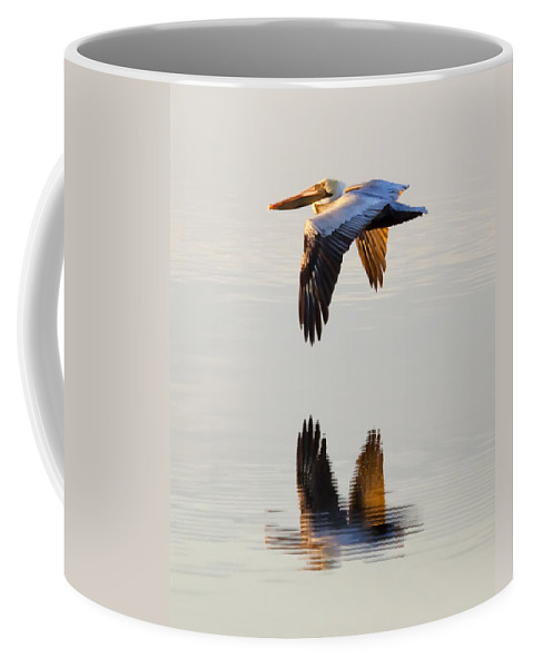 Pelican Coffee Mug featuring the photograph Reflecting Flight by Janet Fikar