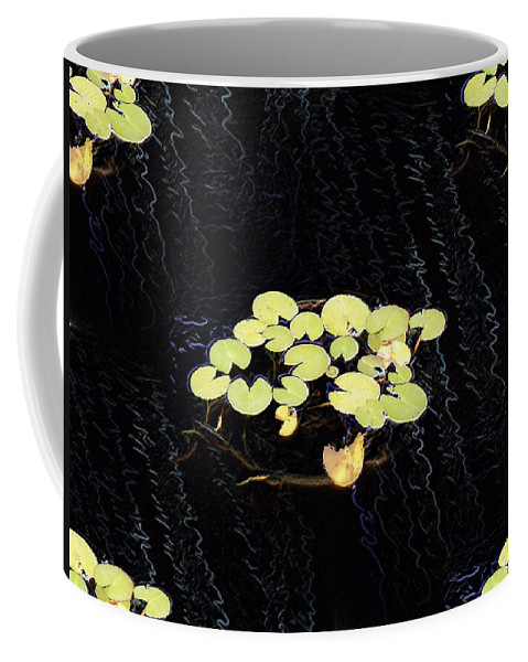 Lillies Coffee Mug featuring the digital art Reflecting Pool Lilies by Tim Allen