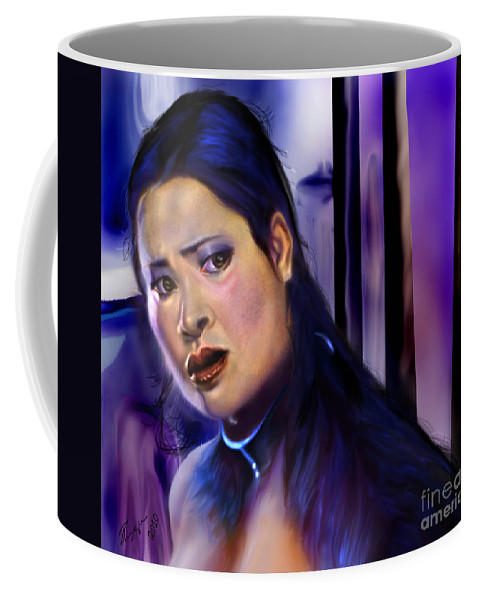 Asian Woman Coffee Mug featuring the painting Reflection Of A Movie Scene by Reggie Duffie