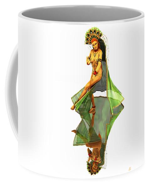 Pinup Coffee Mug featuring the digital art Reflection Of Golden Kali Dancer by Grant Prescott