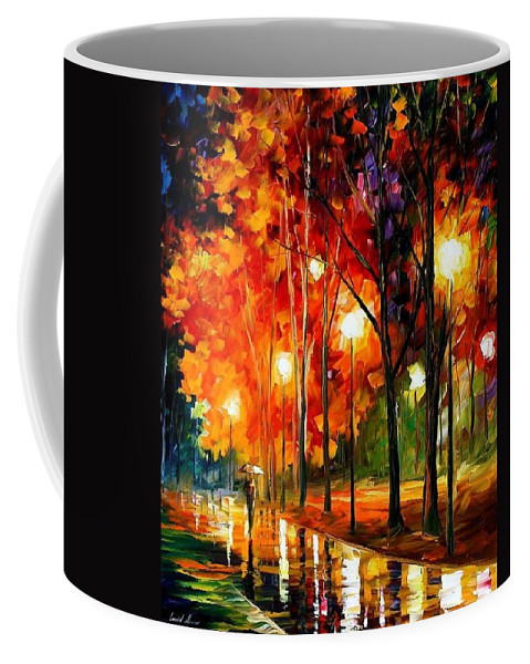 Landscape Coffee Mug featuring the painting Reflection Of The Night by Leonid Afremov