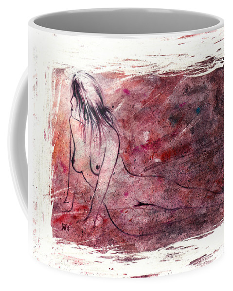 Nude Coffee Mug featuring the painting Reflection by Rachel Christine Nowicki