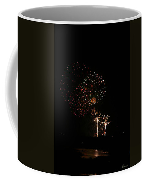Fireworks Canada Day Lake Water Sky Color Red Gold Yellow Reflection Trees Coffee Mug featuring the photograph Reflections by Andrea Lawrence