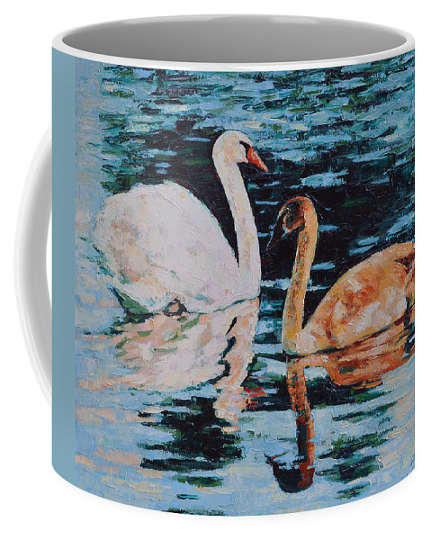 Blue Coffee Mug featuring the painting Reflections by Iliyan Bozhanov