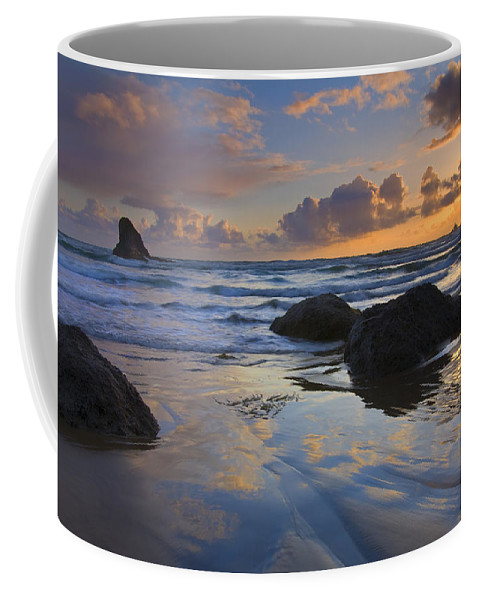 Sunset Coffee Mug featuring the photograph Reflections In The Sand by Mike Dawson
