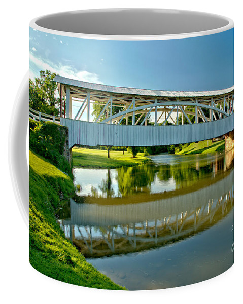 Halls Mill Covered Bridge Coffee Mug featuring the photograph Reflections In Yellow Creek by Adam Jewell