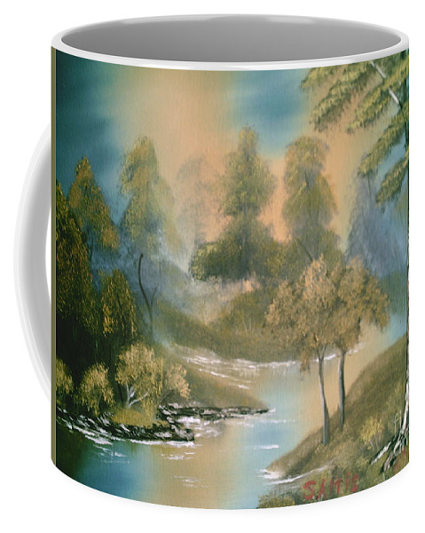 Trees Coffee Mug featuring the painting Reflections by Jim Saltis