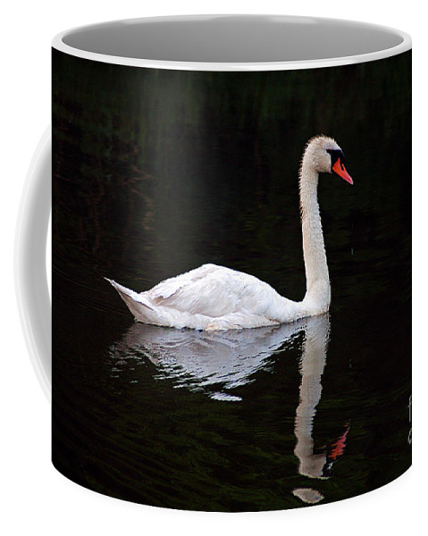 Clay Coffee Mug featuring the photograph Reflections Of A Swimming Swan by Clayton Bruster