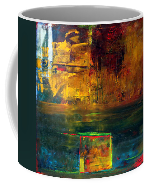 New York City Reflection Red Yellow Blue Green Coffee Mug featuring the painting Reflections Of New York by Jack Diamond