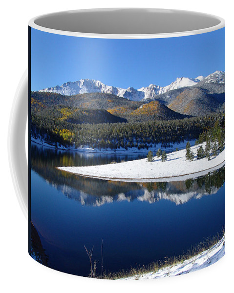 Landscape Coffee Mug featuring the photograph Reflections Of Pikes Peak In Crystal Reservoir by Carol Milisen