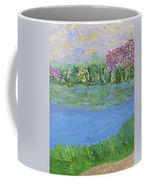 Landscape Coffee Mug featuring the painting Reflections Of by Sara Credito