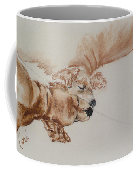 Cocker Spaniel Coffee Mug featuring the drawing Reflections Of The Day by Cori Solomon
