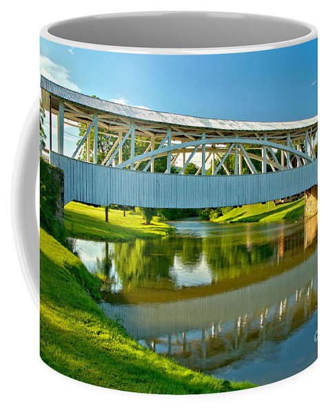 Halls Mill Covered Bridge Coffee Mug featuring the photograph Reflections Of The Halls Mill Covered Bridge by Adam Jewell