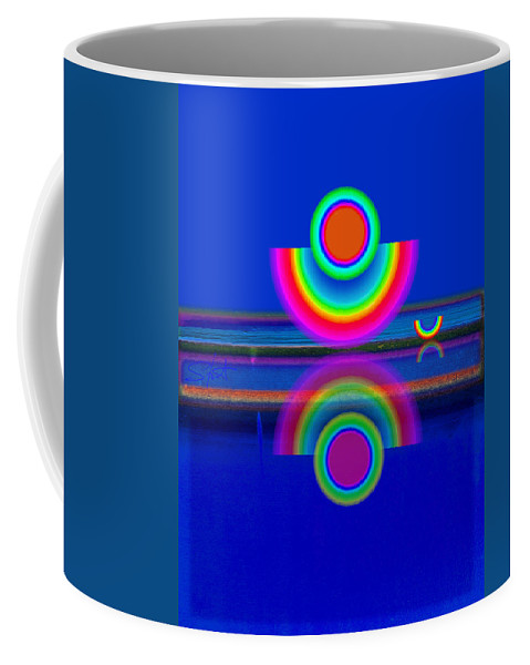 Reflections Coffee Mug featuring the painting Reflections On Blue by Charles Stuart