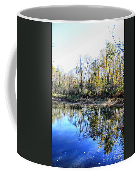 Water Coffee Mug featuring the photograph Reflections On Blue by Deborah Benoit
