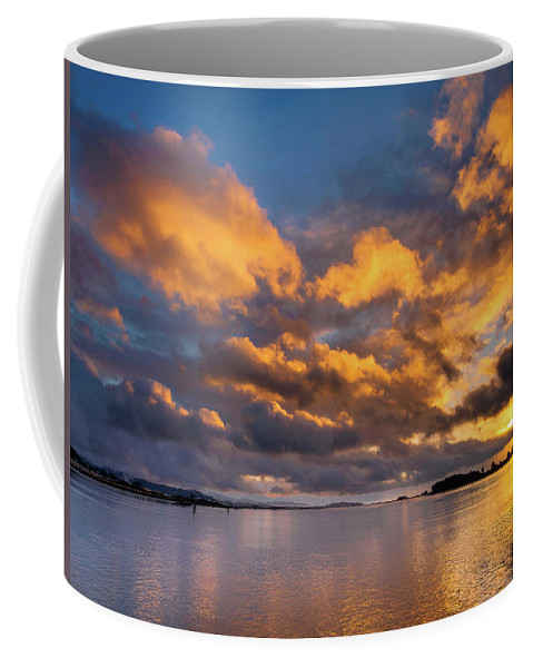 Humboldt Bay Coffee Mug featuring the photograph Reflections On Fire Sunset by Greg Nyquist