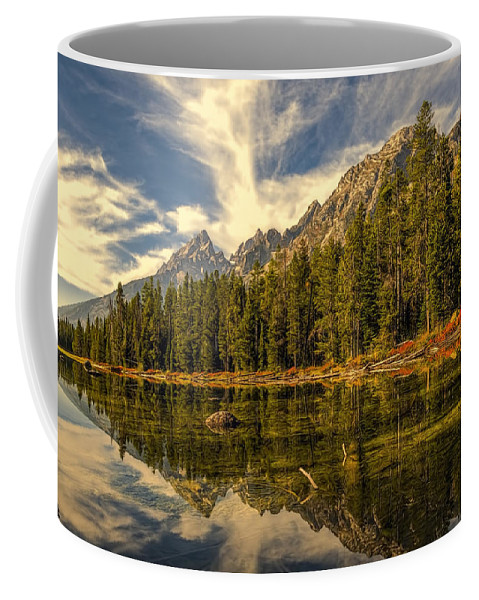 Altitude Coffee Mug featuring the photograph Reflections On Jenny Lake by Maria Coulson