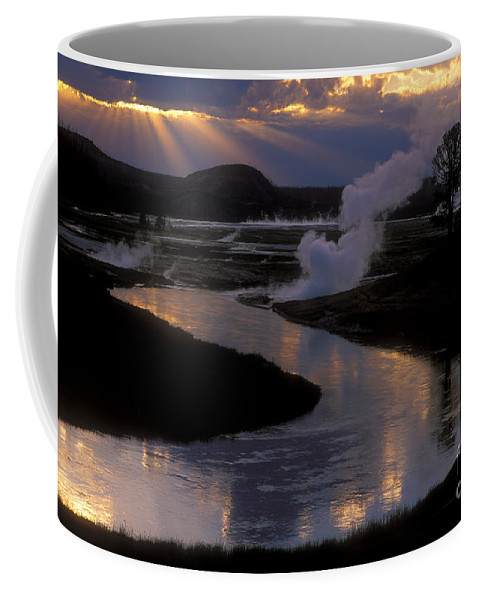Yellowstone National Park Coffee Mug featuring the photograph Reflections On The Firehole River by Sandra Bronstein