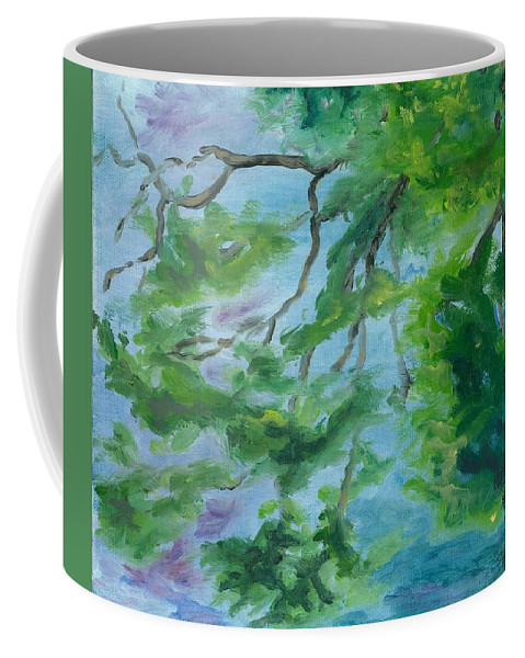 Reflections Coffee Mug featuring the painting Reflections On The Mill Pond by Paula Emery