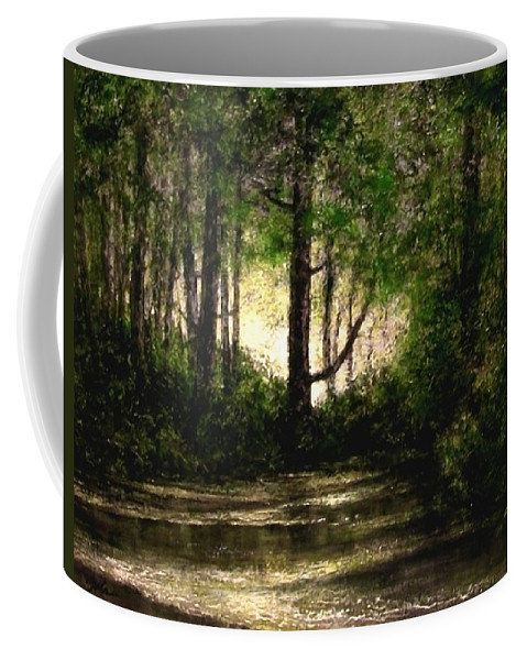 Tonalist Coffee Mug featuring the painting Refuge - Early Morning by Jim Gola