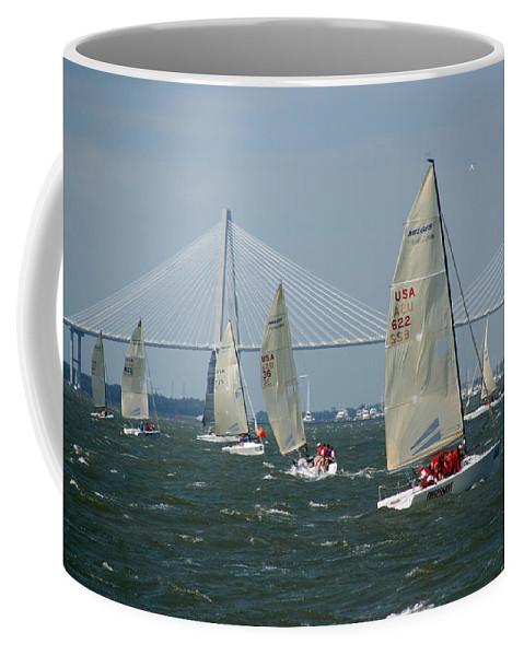 Photography Coffee Mug featuring the photograph Regatta In Charleston Harbor by Susanne Van Hulst