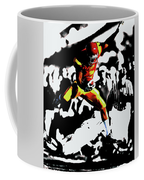 Reggie Bush Coffee Mug featuring the mixed media Reggie Bush Up And Over by Brian Reaves