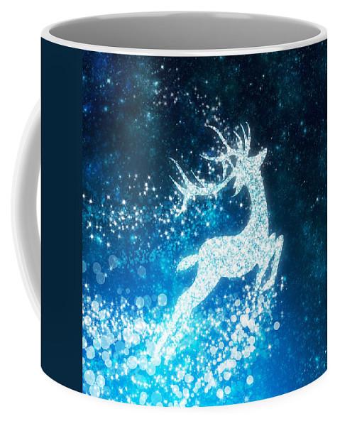 Animal Coffee Mug featuring the photograph Reindeer Stars by Setsiri Silapasuwanchai