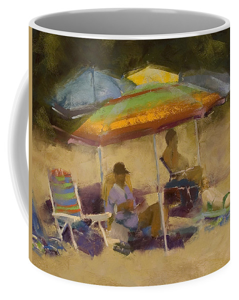 Relaxing At The Lake Coffee Mug featuring the pastel Relaxing At The Lake by David Patterson