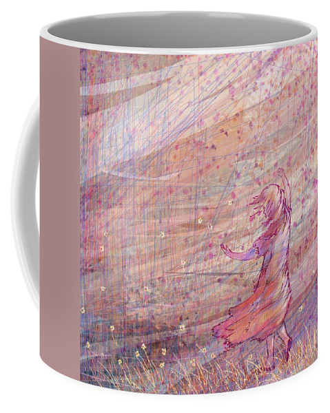 Abstract Coffee Mug featuring the digital art Releasing The Daisies by William Russell Nowicki