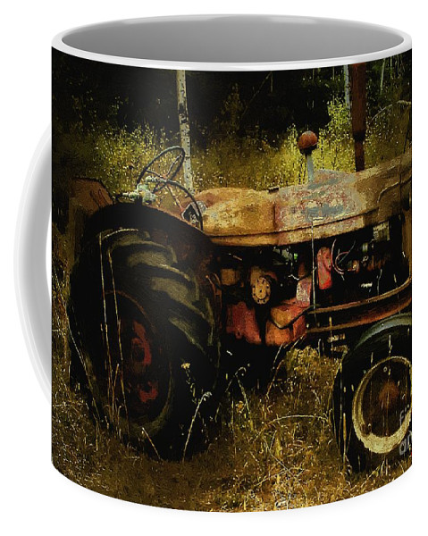 Farming Coffee Mug featuring the painting Relic In The Field by RC DeWinter