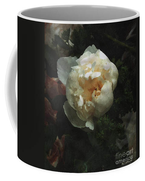 Flower Coffee Mug featuring the painting Remembrance In White by RC DeWinter