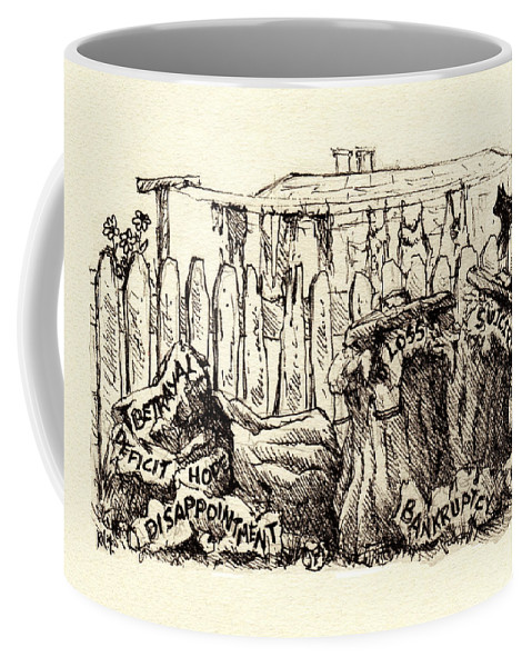 Editorial Coffee Mug featuring the drawing Remnants Of 2010 by Rachel Christine Nowicki