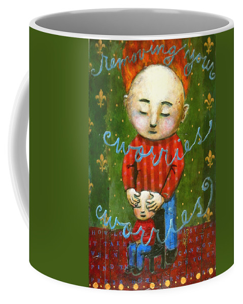 Text Coffee Mug featuring the painting Removing Your Worries by Pauline Lim