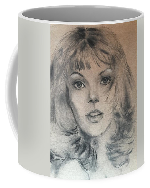 Voguemodel Coffee Mug featuring the drawing Renee Russo by Florence Hsu
