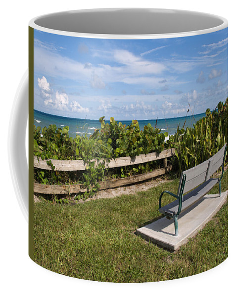 Bench; Public; Florida; Melbourne; Beach; Coast; Shore; Surf; Sand; Brevard; Space; Ocean; Sea; Atla Coffee Mug featuring the photograph Reserved For A Visitor To East Coast Florida by Allan Hughes