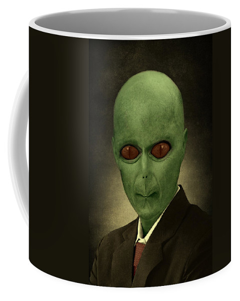 Alien Coffee Mug featuring the painting Resident Professor Of Interplanetary Research Area 51 by Movie Poster Prints