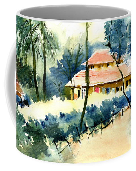 Landscape Coffee Mug featuring the painting Rest House by Anil Nene